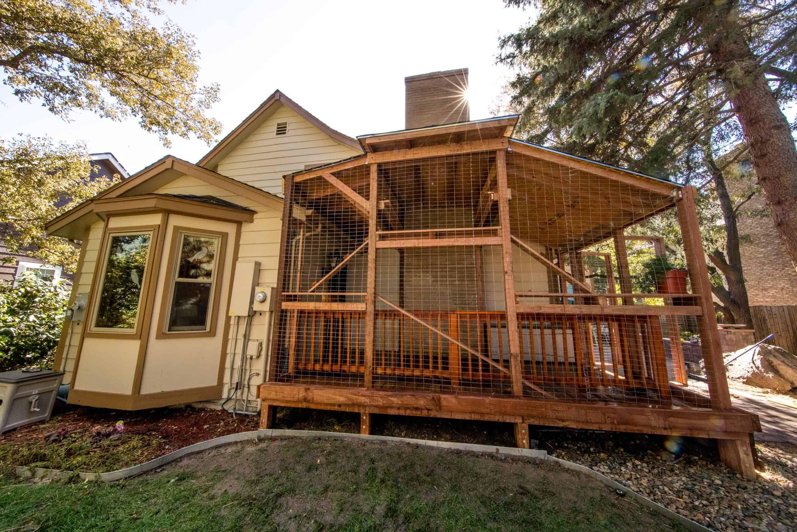 custom catio on deck weatherproof outdoor cat house