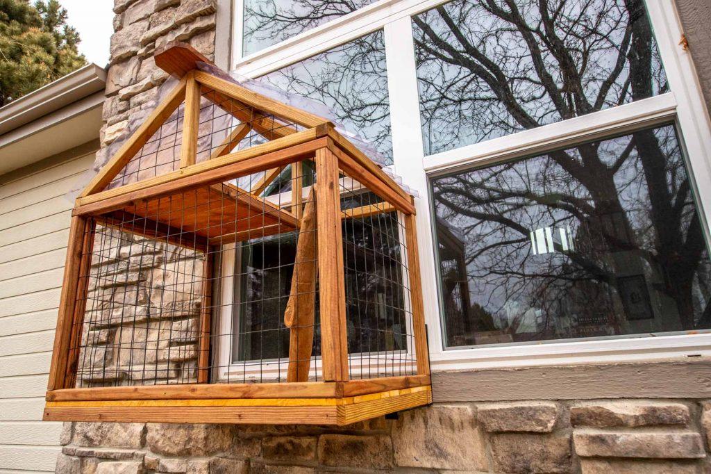 wooden cat window box